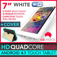"""8GB 7"""" ANDROID 4.1 QUAD CORE TOUCH SCREEN TABLET CAPACITIVE WHITE + CASE COVER"""