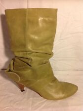 Shellys Green Mid Calf Leather Boots Size 38