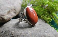 GENUINE RED JASPER 925 STERLING SILVER RING SIZE 9 WITH Ring Box Gift