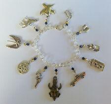 Supernatural  Inspired Charm Bracelet -20cm in Length- Gold & Black Beads