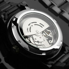 Men Self-winding Skeleton Dial Automatic Mechanical Stainless Steel Watch JR