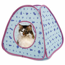 Lovely Cat Tunnel Pet Toy of Cat Pattern More Fun Blue Color Tent Small Dog Bed