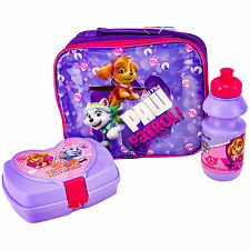GIRLS PAW PATROL 3 PIECE LUXURY LUNCH BOX SET 100% OFFICIAL BRAND NEW