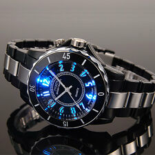OHSEN Mens 7 Modes Light 12 Hour Black Sport Water Proof Run Quartz Wrist Watch