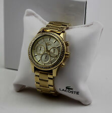 NEW AUTHENTIC LACOSTE CHARLOTTE GOLD CRYSTALS CHRONOGRAPH WOMEN'S 2000835 WATCH