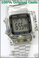 A-178WA-1A Genuine Casio Watch Silver Stainless Steel Band Unisex E-Data-Bank