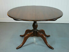 ERCOL CHESTER PEDESTAL DINING TABLE - MODEL 1191, DARK WOOD, OVAL