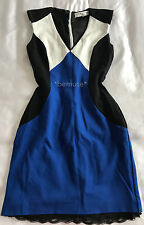Trina Turk Colorblock Blue/Black/White Cue Office Dress w/ Slip 0 Revolve