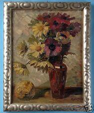 Impressionismus Ölgemälde Blumen Stillleben Sommerblumen Strauß A. Walter ~1920