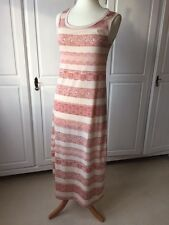 H&M beige long dress with terracotta paisley stripes