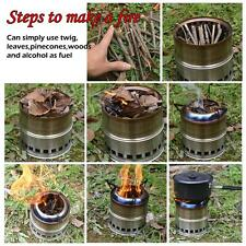 Portable Outdoor Survival Wood Burning Stove Backpacking Emergency Camping Stove
