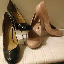NINE WEST 8 39 Classy Elegant Nude OR Black Patent Leather Medium Heels Pumps BN