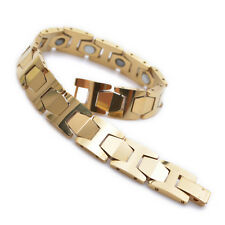"10mm Gold Tungsten Magnetic Hematite Mens Bracelet 8"" B731"
