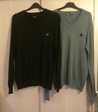 2 x Mens Bench V Neck Jumper Sweaters Grey and Black Size Medium