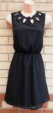 RARE CUT OUT NECKLINE COLLAR SKATER BLACK ELEGANT PARTY MINI A LINE TEA DRESS S
