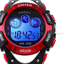 OHSEN Light Date/Day Alarm Digital Sport Quartz Mens Military Army Watch Red