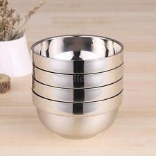 4pcs/set Solid Durable Stainless Steel Double-deck Heat Insulation Bowls R6R8