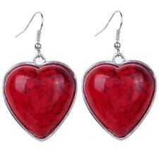 Love Gift Heart-Shaped Silver Plated Lady Red Turquoise Jewelry Hook Earrings