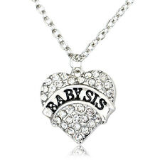 Gifts Fashion Charm Party Women Crystal Heart Clear Baby Sister Pendant Necklace