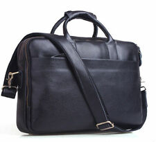 "Men's Real Black Leather Briefcase 14"" Laptop Case Shoulder Bag Tote Business"
