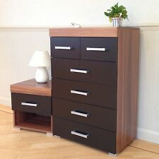 4+2 Chest of Drawers & Bedside Table in Black & Walnut Bedroom Furniture 6 *NEW*