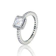 925 Solid Sterling Silver Cubic Zirconia Princess Cut Solitaire Ring Band Size 6