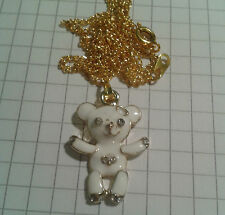 "TIBETAN GOLD PLAT+ ENAMEL WHITE TEDDY PENDANT ON 18"" GOLD PLATED NECKLACE"