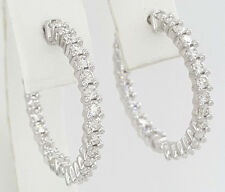 """1.5 ct 14k White Gold Inside Out Round Cut Diamond Hoop Earrings 25.5 mm 1"""""""