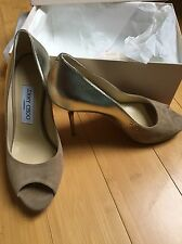 Genuine Jimmy Choo 'Luna' Nude And Gold Party Shoes. Sz 37