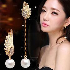 1Paar Damen Fashion Strass Flügel Ohrringe Perlen Anhänger Lang Kette Ohrstecker