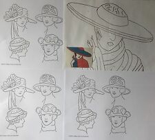 Vintage Lady in hats 6 x iron on embroidery transfers by Webster