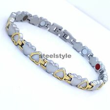 LADIE'S STAINLESS STEEL  BIO MAGNETIC BRACELET 5 in 1 SILVER/GOLD HEARTS DESIGN