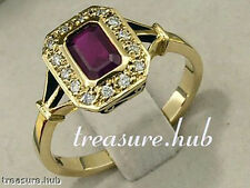 R657 TIMELESS 9ct Solid Gold  Natural RUBY & Diamond Engagement Ring  Solitaire