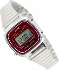 Casio LA-670WA-4 Ladies Digital Red Watch Silver Steel Band Classic Alarm New