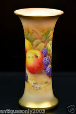 ROYAL WORCESTER Fruit Hand Painted Porcelain Trumpet Vase by HORACE PRICE Signed
