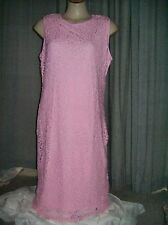 Powder PINK Textured LACE Lined Summer Tea Party Shift dress 16 NEW