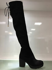 LADIES WOMENS OVER KNEE BLACK SUEDE STYLE MID BLOCK HEEL BOOTS SHOES SIZE 6
