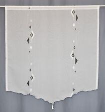 Scheibengardine mit Quaste weiß-schwarz Gardinen Gardine Schals