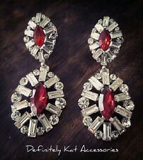 Stunning white & red crystal cluster dangling drop cocktail statement earrings