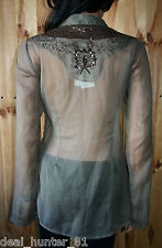 Vila Elegant Ladies Blouse Tunic Khaki &Gold L/12/40 Boho Embroidered Shiny 38/8