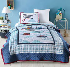 Single/K Single Boy's Aeroplane 100% Cotton Quilted BedSpreads 2Pc Set