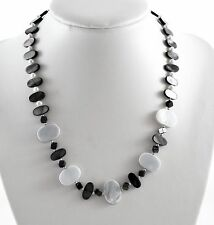 Blue Shell And Mother Of Pearl Necklace With Sterling Silver Clasp