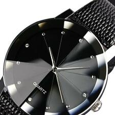 Luxury Men's Black Quartz Sport Silver Stainless Steel Dial Leather Wrist Watch