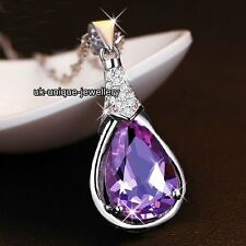 SPARKLING XMAS Gift For Her Amethyst Purple Crystal Necklace Silver Women Love A