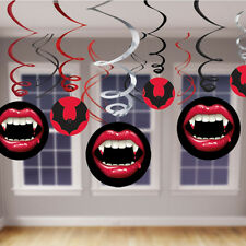 12 x Halloween Vampire & Bats HANGING SWIRLS Bumper Value Pack Party Decorations