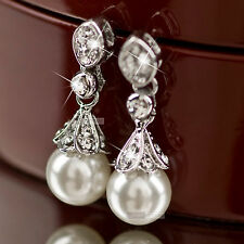 18k white gold GF swarovski crystal Engagement wedding pearl stud earrings