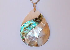 Pear shaped Shell Inlay Pendant (Abalone, White, Dark) and chain, Size 20.