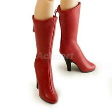 """1/6 Female Knee High Boots Shoes for 12"""" Kumik Phicen Hot Toys Figures Red"""