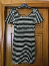 khaki striped half sleeve bodycon dress size 14 brand new mini dress