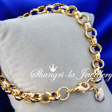 Solid 9K 9CT Yellow GOLD GF Belcher Ring RINGS Link CHAIN Womens BRACELET S740G